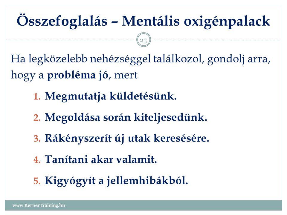 Összefoglalás – Mentális oxigénpalack www.KernerTraining.hu 23 Ha legközelebb nehézséggel találkozol, gondolj arra, hogy a probléma jó, mert 1. Megmut