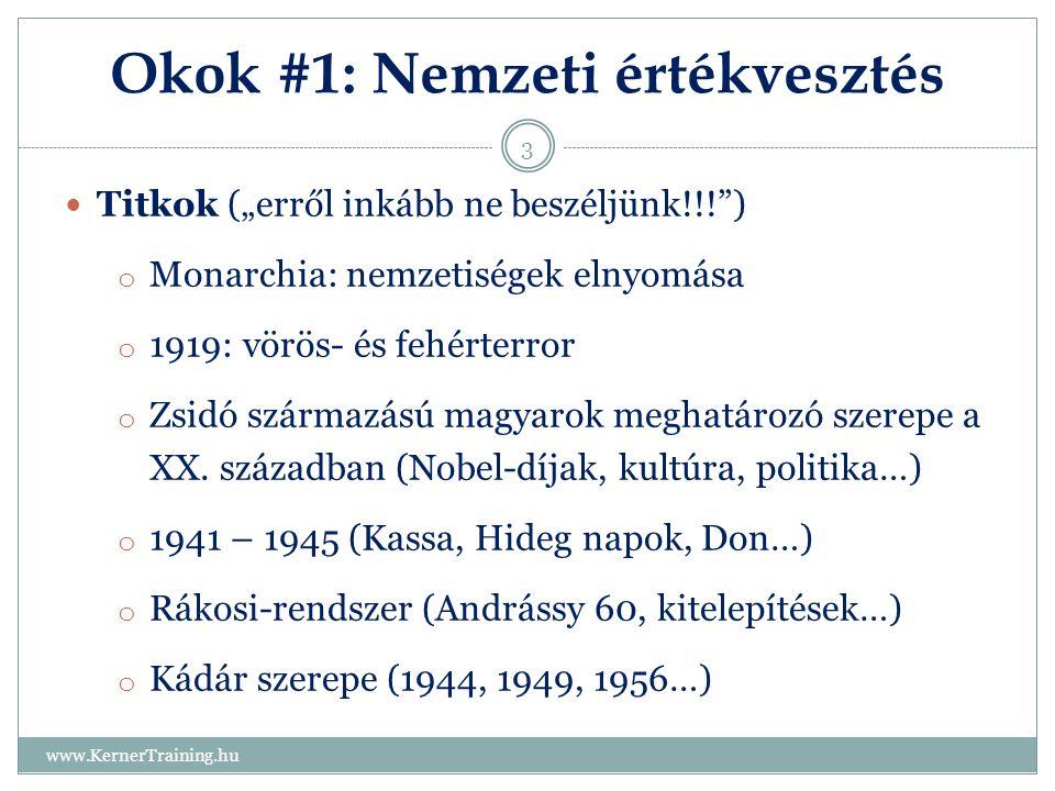 """Okok #1: Nemzeti értékvesztés www.KernerTraining.hu 3 Titkok (""""erről inkább ne beszéljünk!!!"""") o Monarchia: nemzetiségek elnyomása o 1919: vörös- és f"""