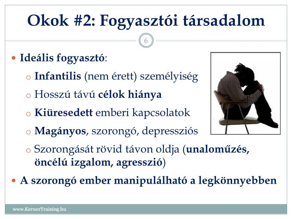 Okok #2: Fogyasztói társadalom www.KernerTraining.hu 6 Ideális fogyasztó : o Infantilis (nem érett) személyiség o Hosszú távú célok hiánya o Kiüresede