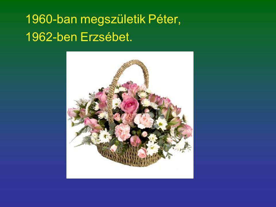 1960-ban megszületik Péter, 1962-ben Erzsébet.