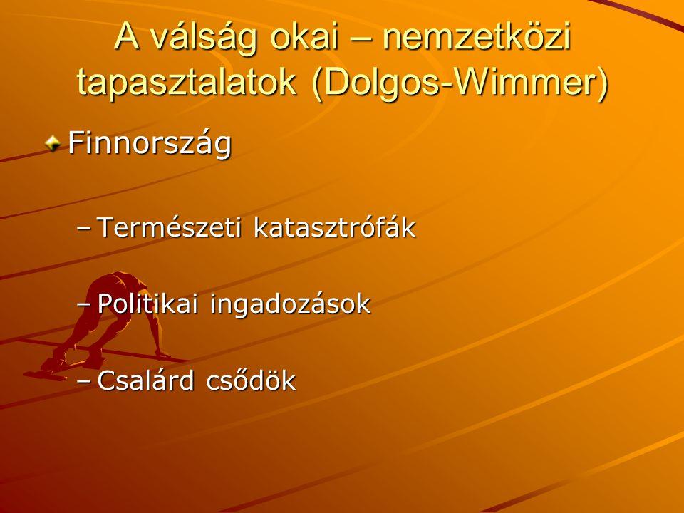 A válság okai – nemzetközi tapasztalatok (Dolgos-Wimmer) Finnország –Természeti katasztrófák –Politikai ingadozások –Csalárd csődök
