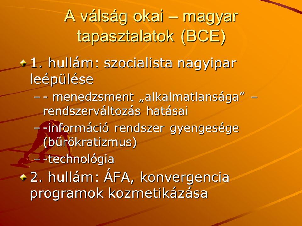 A válság okai – magyar tapasztalatok (BCE) 1.