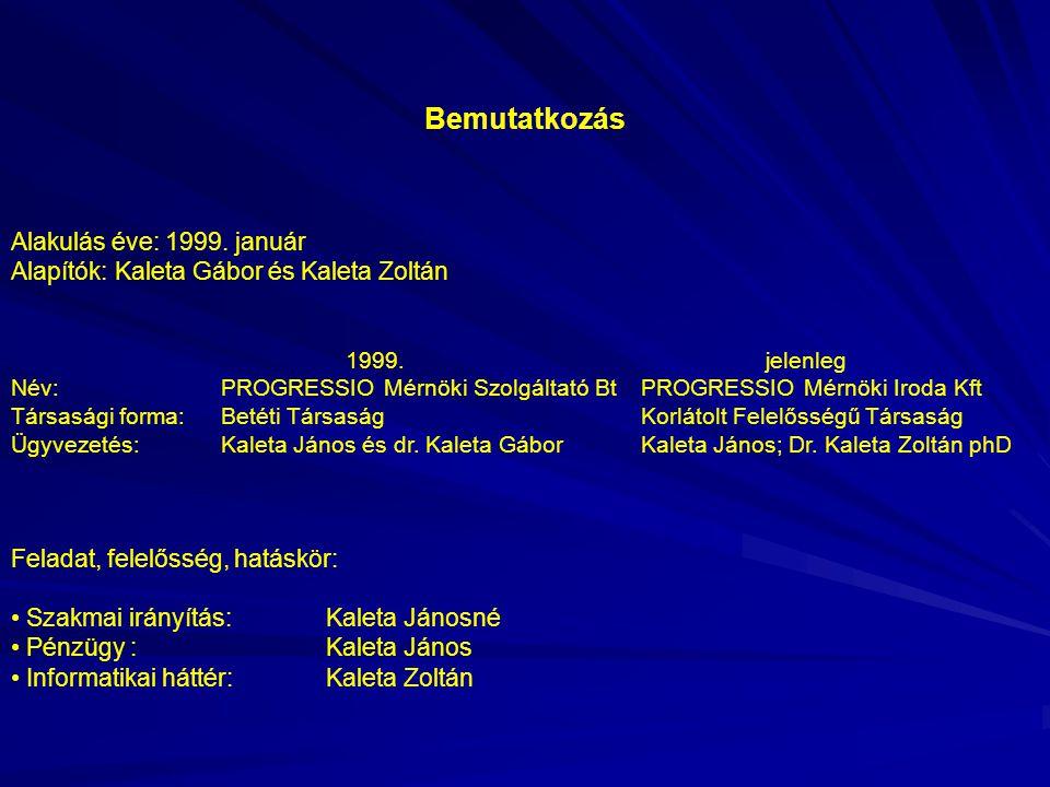 Bemutatkozás Alakulás éve: 1999. január Alapítók: Kaleta Gábor és Kaleta Zoltán 1999.