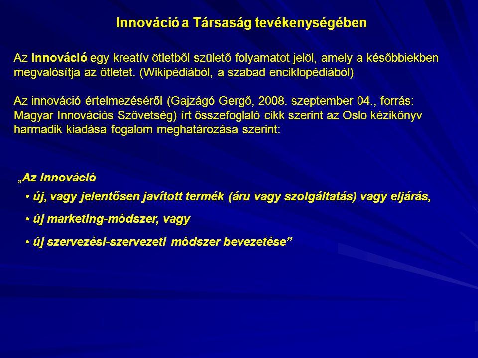 Az innováció egy kreatív ötletből születő folyamatot jelöl, amely a későbbiekben megvalósítja az ötletet.