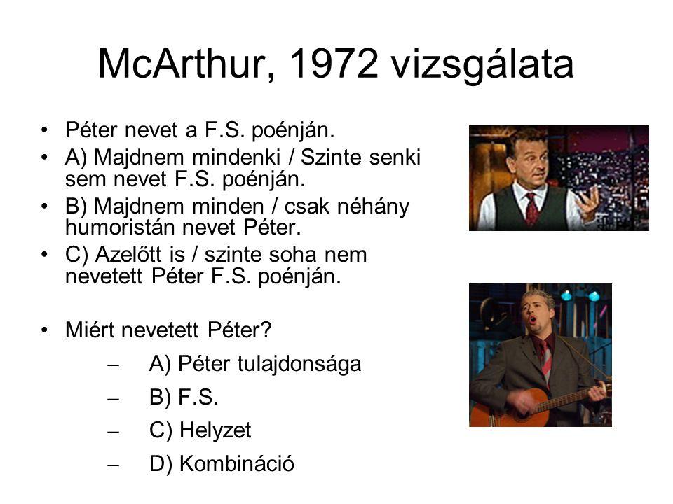 McArthur, 1972 vizsgálata Péter nevet a F.S. poénján. A) Majdnem mindenki / Szinte senki sem nevet F.S. poénján. B) Majdnem minden / csak néhány humor