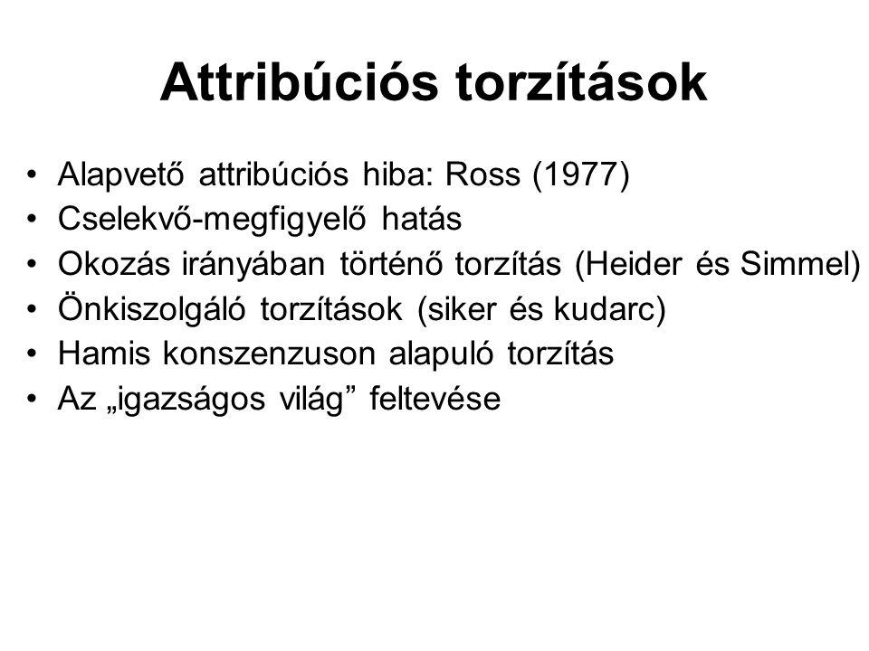 Attribúciós torzítások Alapvető attribúciós hiba: Ross (1977) Cselekvő-megfigyelő hatás Okozás irányában történő torzítás (Heider és Simmel) Önkiszolg