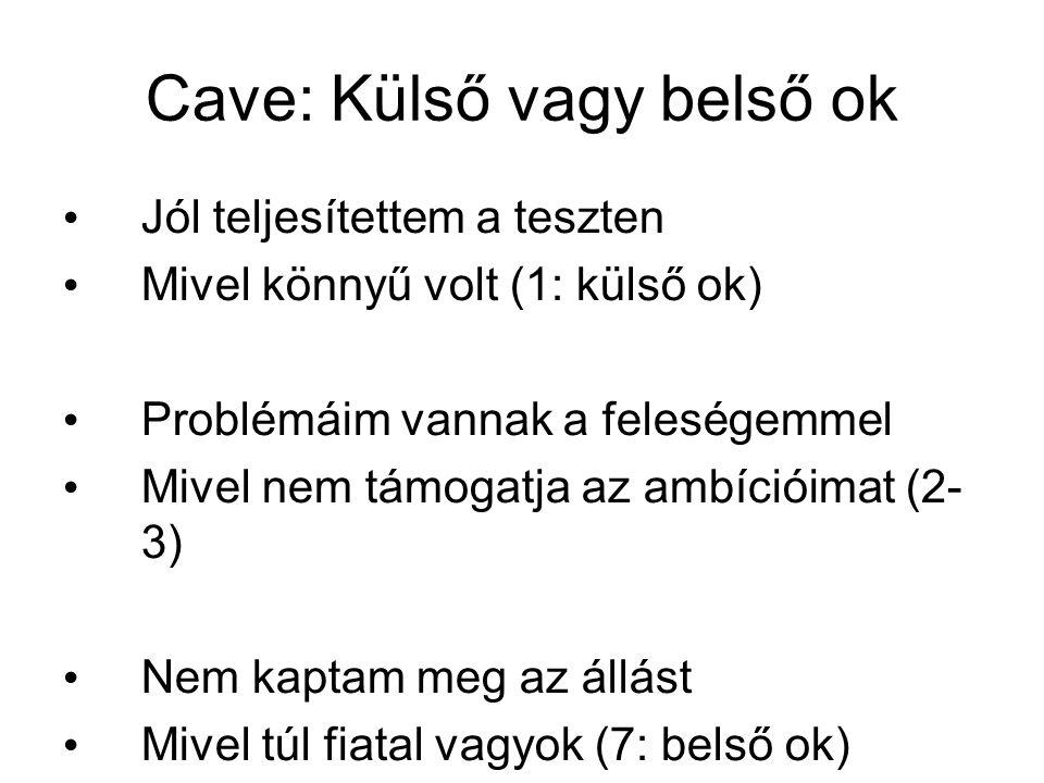 Cave: Külső vagy belső ok Jól teljesítettem a teszten Mivel könnyű volt (1: külső ok) Problémáim vannak a feleségemmel Mivel nem támogatja az ambíciói