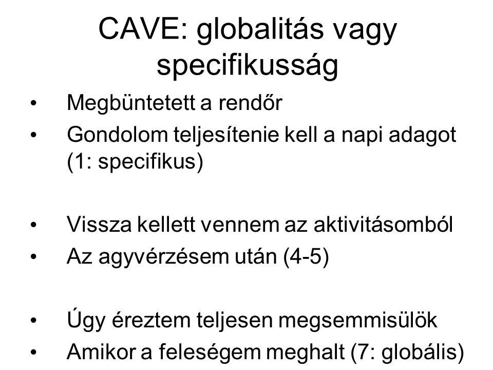 CAVE: globalitás vagy specifikusság Megbüntetett a rendőr Gondolom teljesítenie kell a napi adagot (1: specifikus) Vissza kellett vennem az aktivitáso