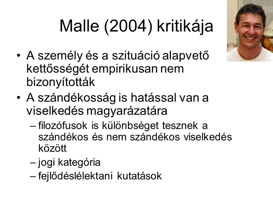 Malle (2004) kritikája A személy és a szituáció alapvető kettősségét empirikusan nem bizonyították A szándékosság is hatással van a viselkedés magyará