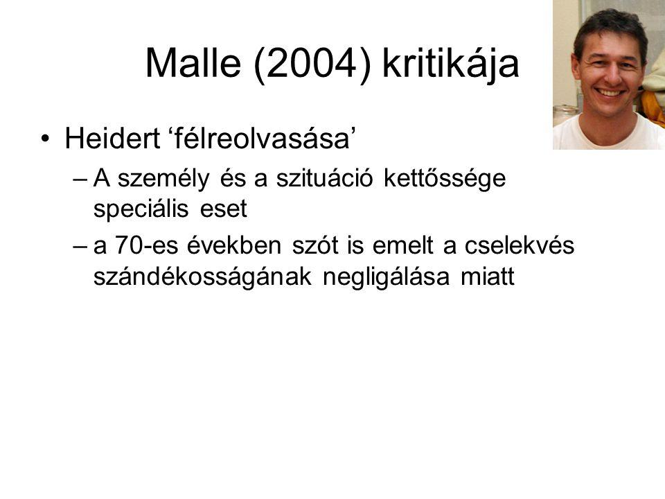 Malle (2004) kritikája Heidert 'félreolvasása' –A személy és a szituáció kettőssége speciális eset –a 70-es években szót is emelt a cselekvés szándéko