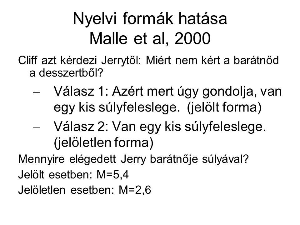 Nyelvi formák hatása Malle et al, 2000 Cliff azt kérdezi Jerrytől: Miért nem kért a barátnőd a desszertből? – Válasz 1: Azért mert úgy gondolja, van e