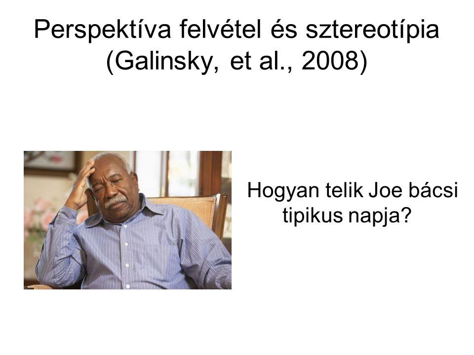 Perspektíva felvétel és sztereotípia (Galinsky, et al., 2008) Hogyan telik Joe bácsi tipikus napja?