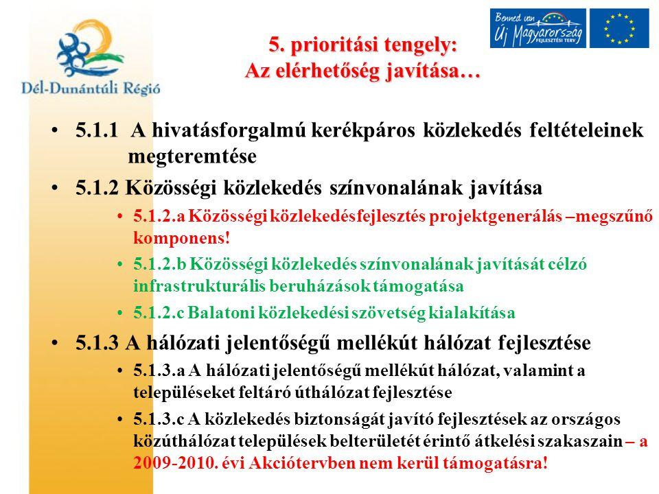 5. prioritási tengely: Az elérhetőség javítása… 5.1.1 A hivatásforgalmú kerékpáros közlekedés feltételeinek megteremtése 5.1.2 Közösségi közlekedés sz