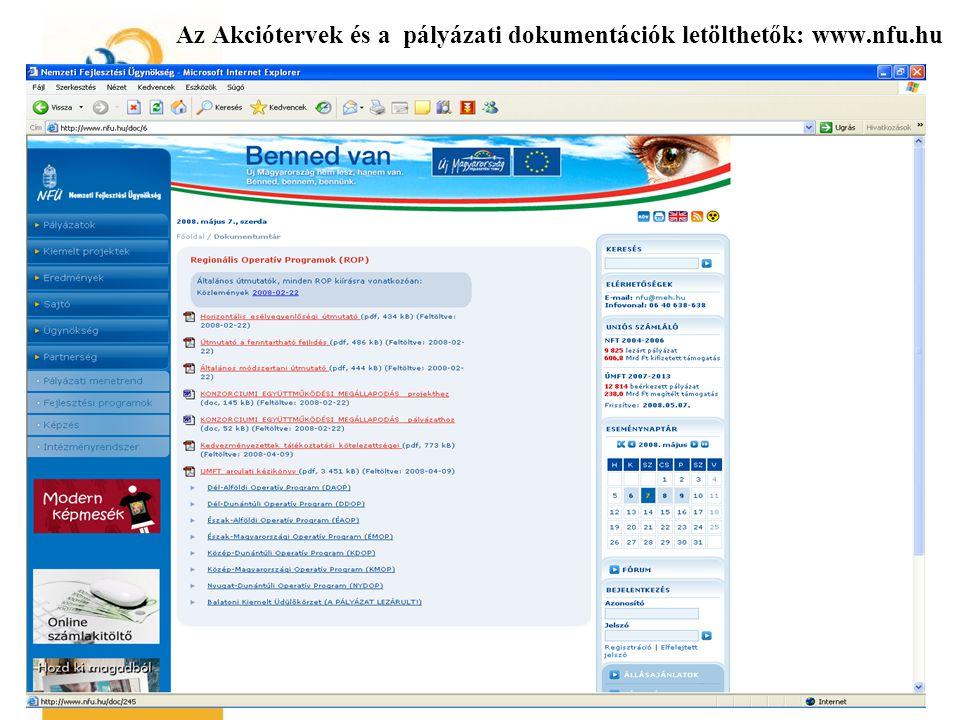 Az Akciótervek és a pályázati dokumentációk letölthetők: www.nfu.hu