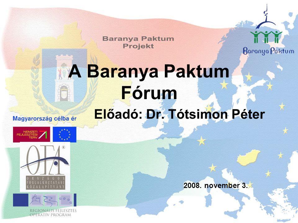 A Baranya Paktum Fórum Előadó: Dr. Tótsimon Péter 2008. november 3.
