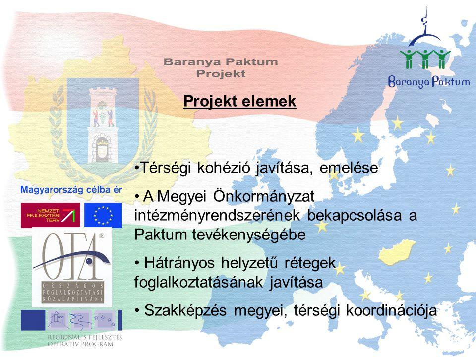 Projekt elemek Térségi kohézió javítása, emelése A Megyei Önkormányzat intézményrendszerének bekapcsolása a Paktum tevékenységébe Hátrányos helyzetű rétegek foglalkoztatásának javítása Szakképzés megyei, térségi koordinációja