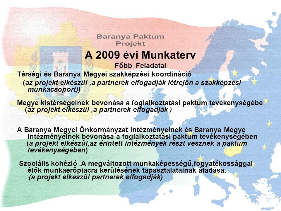 A 2009 évi Munkaterv Főbb Feladatai Térségi és Baranya Megyei szakképzési koordináció (az projekt elkészül,a partnerek elfogadják létrejön a szakképzési munkacsoport)) Megye kistérségeinek bevonása a foglalkoztatási paktum tevékenységébe (az projekt elkészül,a partnerek elfogadják ) A Baranya Megyei Önkormányzat intézményeinek és Baranya Megye intézményeinek bevonása a foglalkoztatási paktum tevékenységében (a projekt elkészül,az érintett intézmények részt vesznek a paktum tevékenységében) Szociális kohézió.A megváltozott munkaképességű,fogyatékossággal élők munkaerőpiacra kerülésének tapasztalatainak átadása.