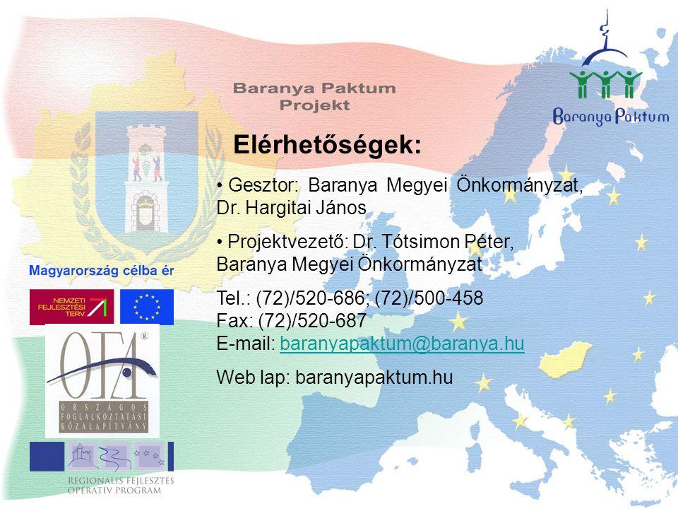 Elérhetőségek: Gesztor: Baranya Megyei Önkormányzat, Dr.