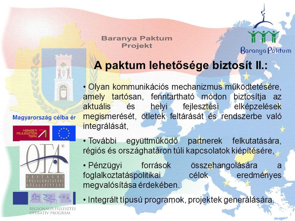 A paktum lehetősége biztosít II.: Olyan kommunikációs mechanizmus működtetésére, amely tartósan, fenntartható módon biztosítja az aktuális és helyi fejlesztési elképzelések megismerését, ötletek feltárását és rendszerbe való integrálását, További együttműködő partnerek felkutatására, régiós és országhatáron túli kapcsolatok kiépítésére, Pénzügyi források összehangolására a foglalkoztatáspolitikai célok eredményes megvalósítása érdekében.