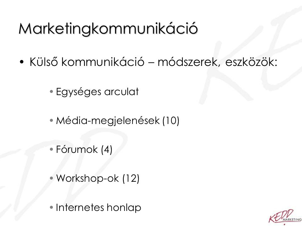 Marketingkommunikáció Külső kommunikáció – módszerek, eszközök: Egységes arculat Média-megjelenések (10) Fórumok (4) Workshop-ok (12) Internetes honlap