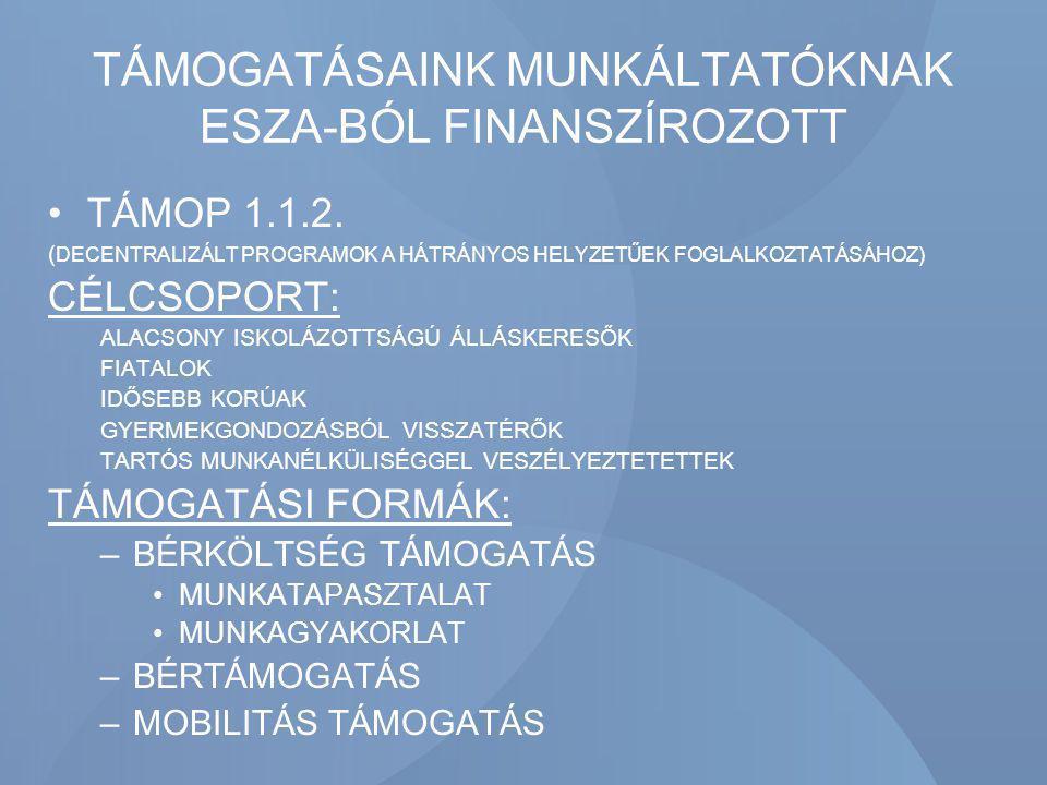 TÁMOGATÁSAINK MUNKÁLTATÓKNAK ESZA-BÓL FINANSZÍROZOTT TÁMOP 1.1.2. ( DECENTRALIZÁLT PROGRAMOK A HÁTRÁNYOS HELYZETŰEK FOGLALKOZTATÁSÁHOZ) CÉLCSOPORT: AL