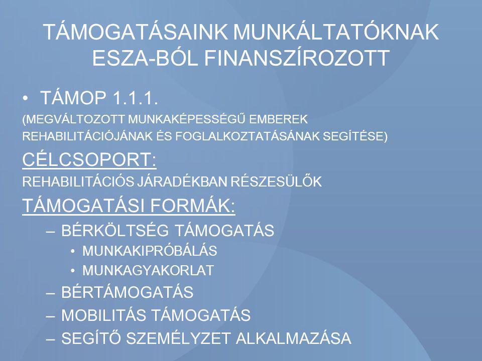 TÁMOGATÁSAINK MUNKÁLTATÓKNAK ESZA-BÓL FINANSZÍROZOTT TÁMOP 1.1.1. (MEGVÁLTOZOTT MUNKAKÉPESSÉGŰ EMBEREK REHABILITÁCIÓJÁNAK ÉS FOGLALKOZTATÁSÁNAK SEGÍTÉ