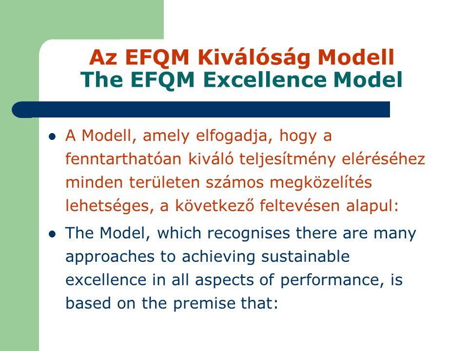 Az EFQM Kiválóság Modell The EFQM Excellence Model A Modell, amely elfogadja, hogy a fenntarthatóan kiváló teljesítmény eléréséhez minden területen számos megközelítés lehetséges, a következő feltevésen alapul: The Model, which recognises there are many approaches to achieving sustainable excellence in all aspects of performance, is based on the premise that: