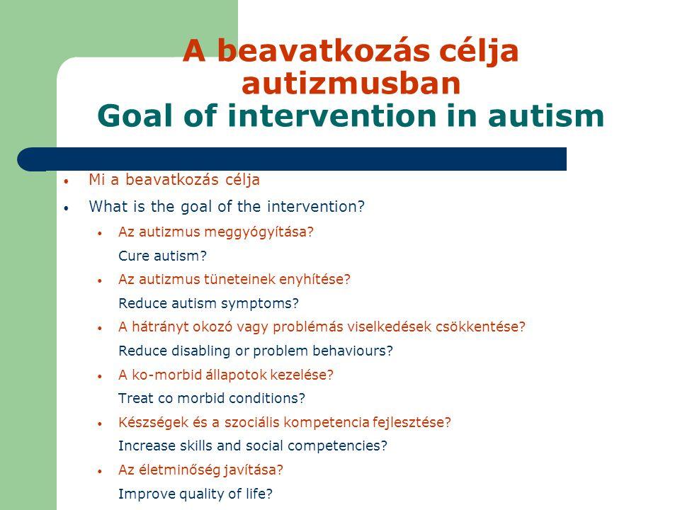 A beavatkozás célja autizmusban Goal of intervention in autism Mi a beavatkozás célja What is the goal of the intervention.