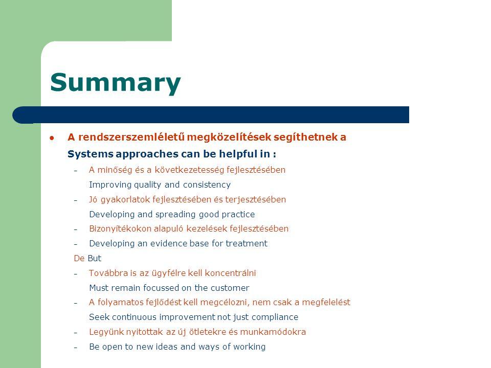 Summary A rendszerszemléletű megközelítések segíthetnek a Systems approaches can be helpful in : – A minőség és a következetesség fejlesztésében Improving quality and consistency – Jó gyakorlatok fejlesztésében és terjesztésében Developing and spreading good practice – Bizonyítékokon alapuló kezelések fejlesztésében – Developing an evidence base for treatment De But – Továbbra is az ügyfélre kell koncentrálni Must remain focussed on the customer – A folyamatos fejlődést kell megcélozni, nem csak a megfelelést Seek continuous improvement not just compliance – Legyünk nyitottak az új ötletekre és munkamódokra – Be open to new ideas and ways of working