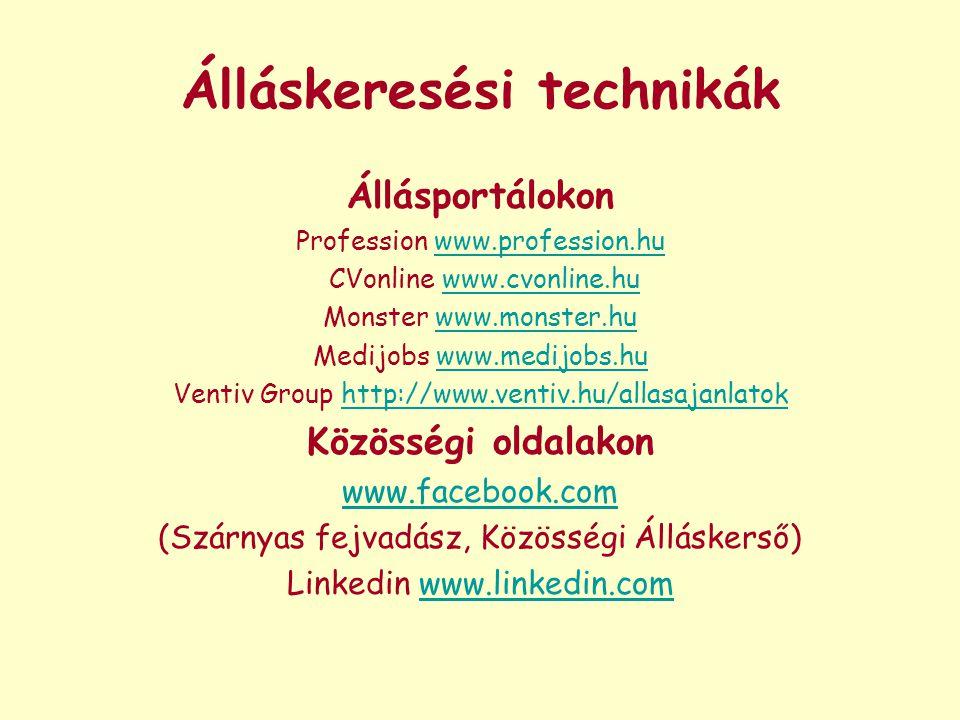 Álláskeresési technikák Állásportálokon Profession www.profession.huwww.profession.hu CVonline www.cvonline.huwww.cvonline.hu Monster www.monster.huww