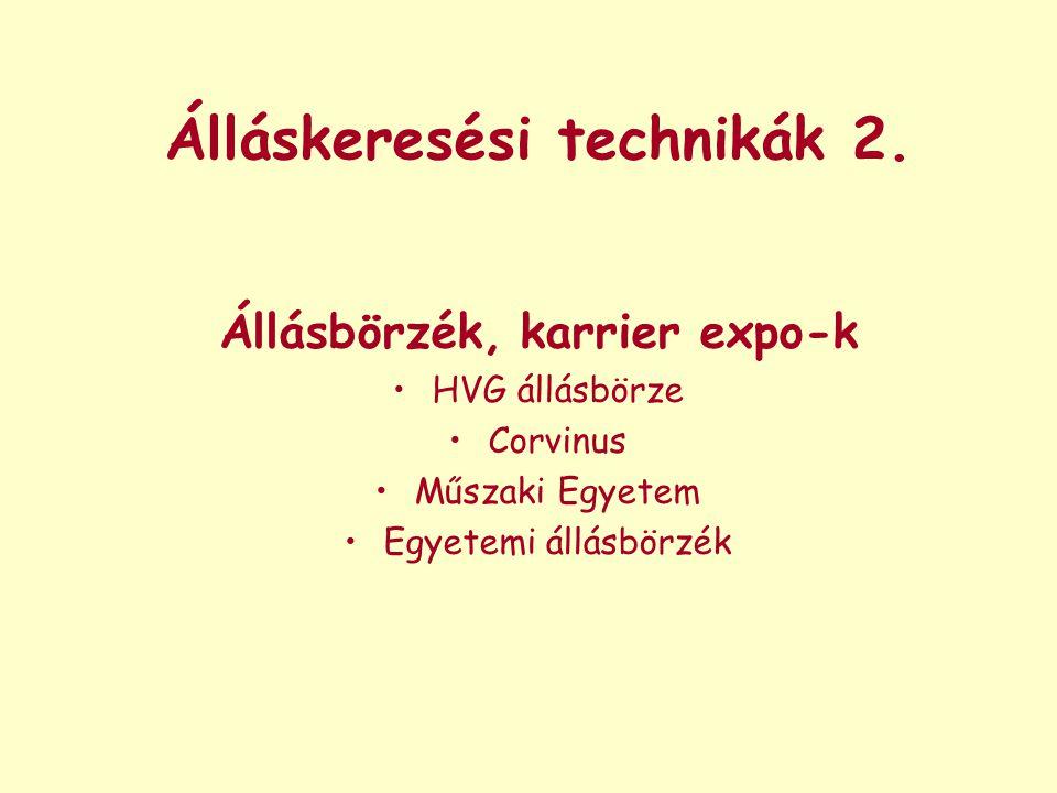 Álláskeresési technikák 2. Állásbörzék, karrier expo-k HVG állásbörze Corvinus Műszaki Egyetem Egyetemi állásbörzék