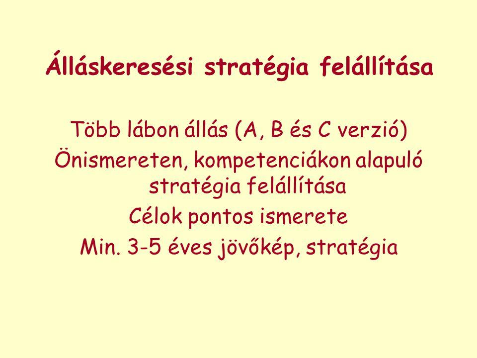 Álláskeresési stratégia felállítása Több lábon állás (A, B és C verzió) Önismereten, kompetenciákon alapuló stratégia felállítása Célok pontos ismeret