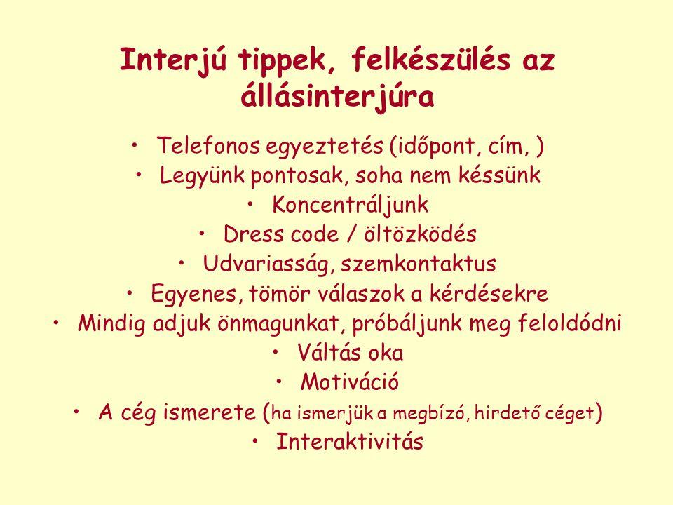 Interjú tippek, felkészülés az állásinterjúra Telefonos egyeztetés (időpont, cím, ) Legyünk pontosak, soha nem késsünk Koncentráljunk Dress code / ölt