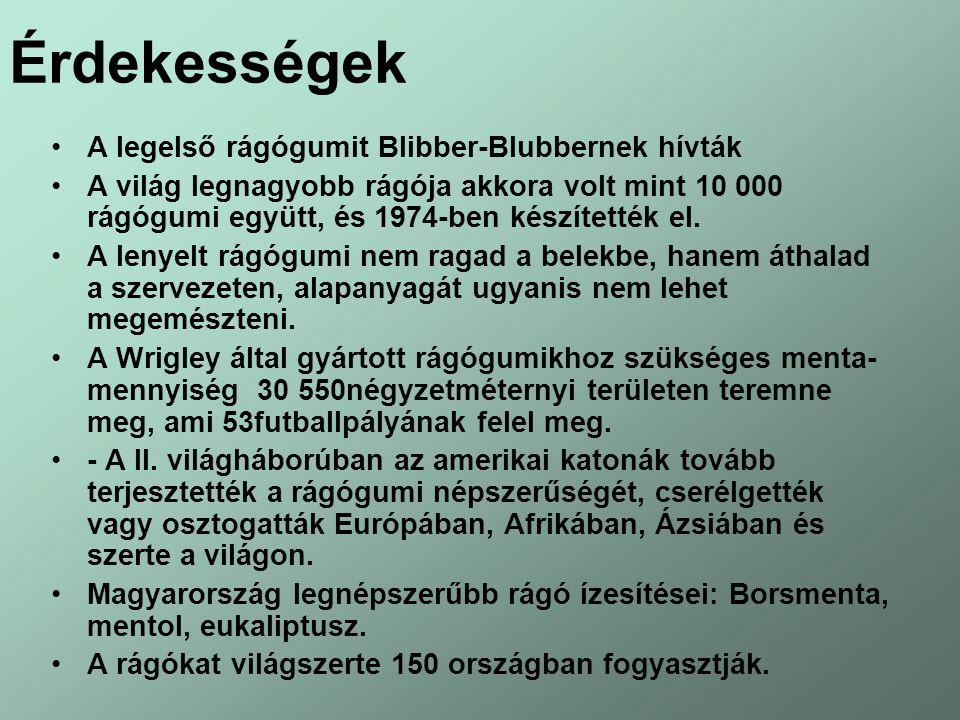 Érdekességek A legelső rágógumit Blibber-Blubbernek hívták A világ legnagyobb rágója akkora volt mint 10 000 rágógumi együtt, és 1974-ben készítették