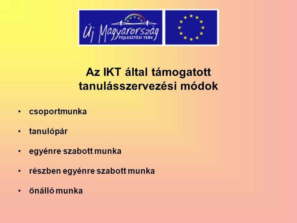 Az IKT által támogatott tanulásszervezési módok csoportmunka tanulópár egyénre szabott munka részben egyénre szabott munka önálló munka