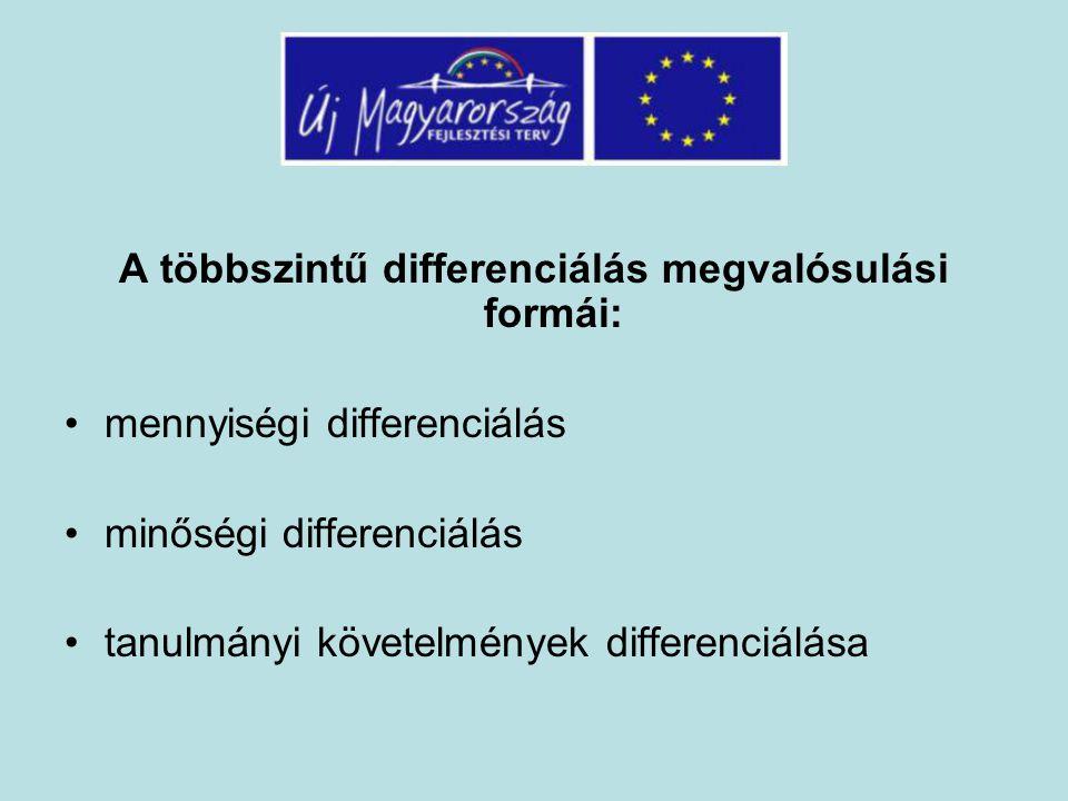 A többszintű differenciálás megvalósulási formái: mennyiségi differenciálás minőségi differenciálás tanulmányi követelmények differenciálása