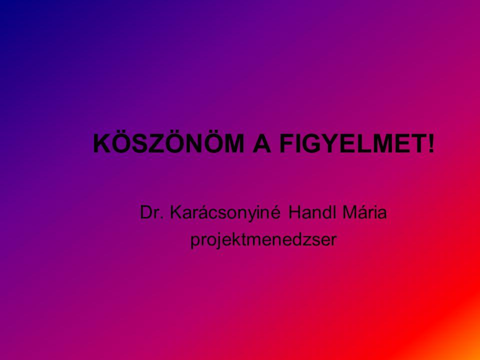 KÖSZÖNÖM A FIGYELMET! Dr. Karácsonyiné Handl Mária projektmenedzser