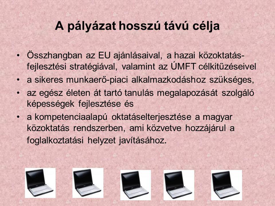 A pályázat hosszú távú célja Összhangban az EU ajánlásaival, a hazai közoktatás- fejlesztési stratégiával, valamint az ÚMFT célkitűzéseivel a sikeres munkaerő-piaci alkalmazkodáshoz szükséges, az egész életen át tartó tanulás megalapozását szolgáló képességek fejlesztése és a kompetenciaalapú oktatáselterjesztése a magyar közoktatás rendszerben, ami közvetve hozzájárul a foglalkoztatási helyzet javításához.