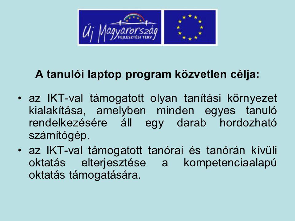 A tanulói laptop program közvetlen célja: az IKT-val támogatott olyan tanítási környezet kialakítása, amelyben minden egyes tanuló rendelkezésére áll egy darab hordozható számítógép.
