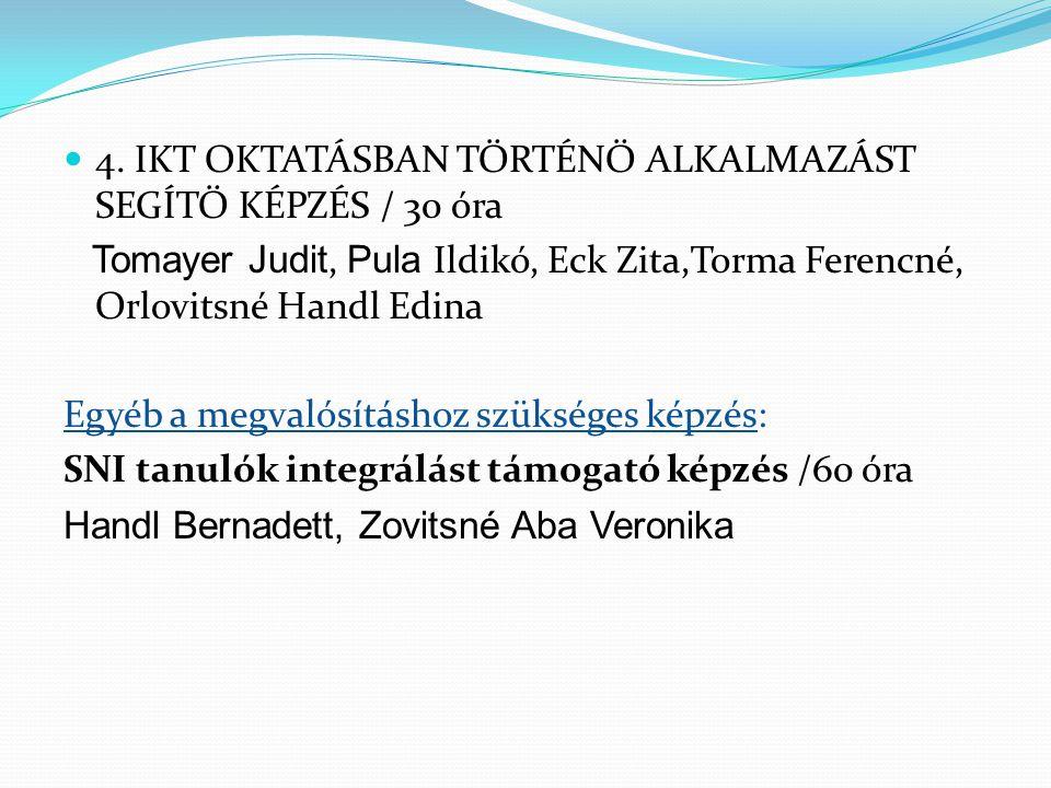 4. IKT OKTATÁSBAN TÖRTÉNŐ ALKALMAZÁST SEGÍTŐ KÉPZÉS / 30 óra Tomayer Judit, Pula Ildikó, Eck Zita,Torma Ferencné, Orlovitsné Handl Edina Egyéb a megva