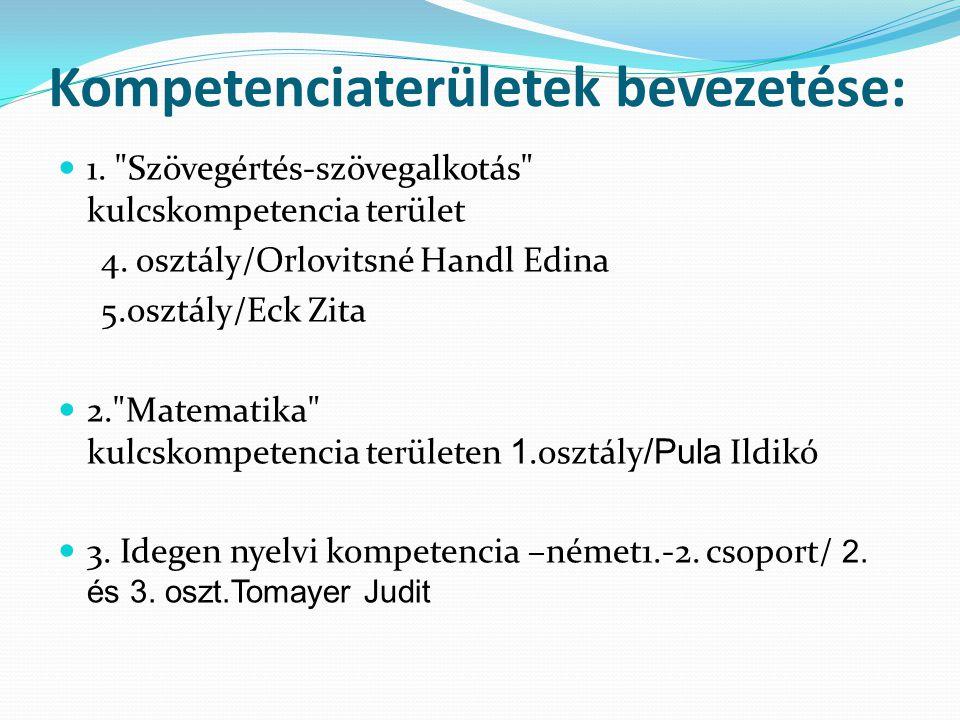 Kompetenciaterületek bevezetése: 1. Szövegértés-szövegalkotás kulcskompetencia terület 4.