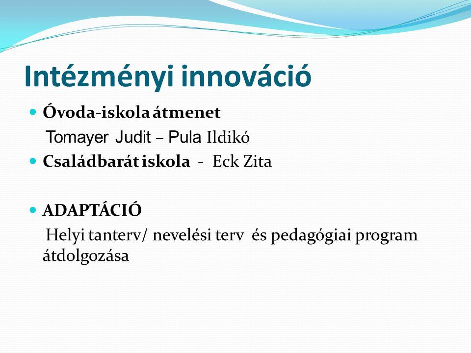 Intézményi innováció Óvoda-iskola átmenet Tomayer Judit – Pula Ildikó Családbarát iskola - Eck Zita ADAPTÁCIÓ Helyi tanterv/ nevelési terv és pedagógi