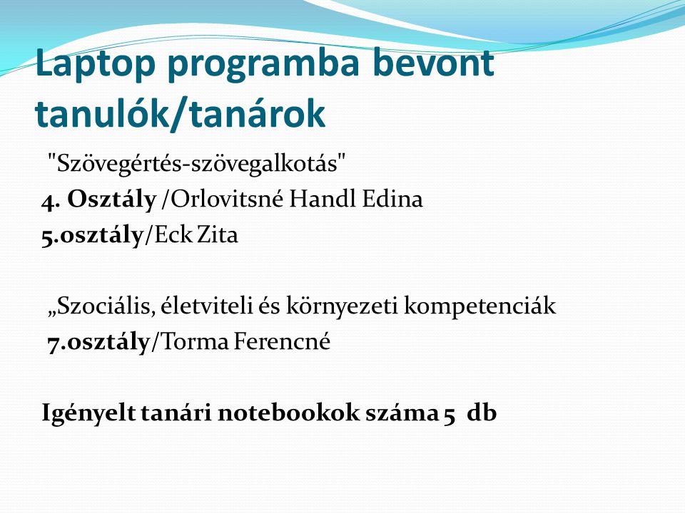 Laptop programba bevont tanulók/tanárok Szövegértés-szövegalkotás 4.