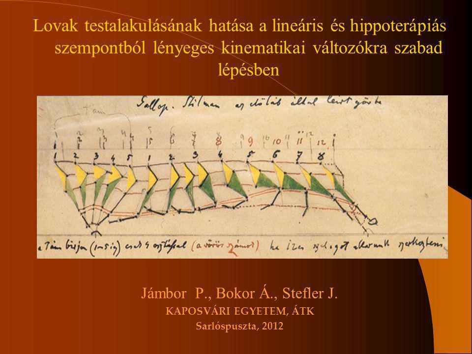 Lovak testalakulásának hatása a lineáris és hippoterápiás szempontból lényeges kinematikai változókra szabad lépésben Jámbor P., Bokor Á., Stefler J.