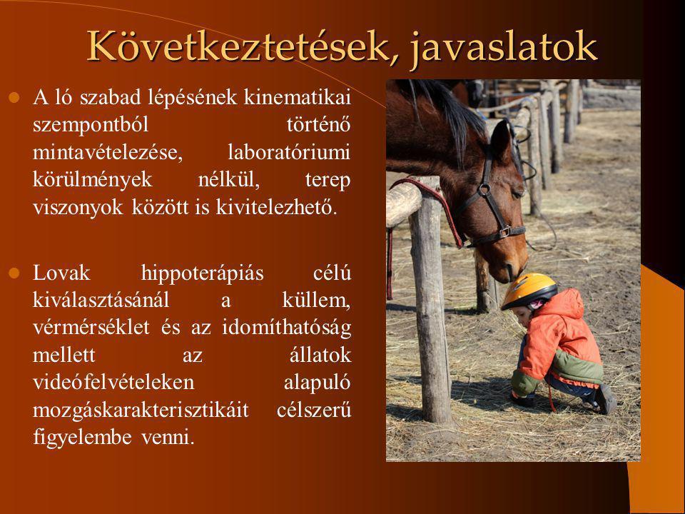 Következtetések, javaslatok A ló szabad lépésének kinematikai szempontból történő mintavételezése, laboratóriumi körülmények nélkül, terep viszonyok k