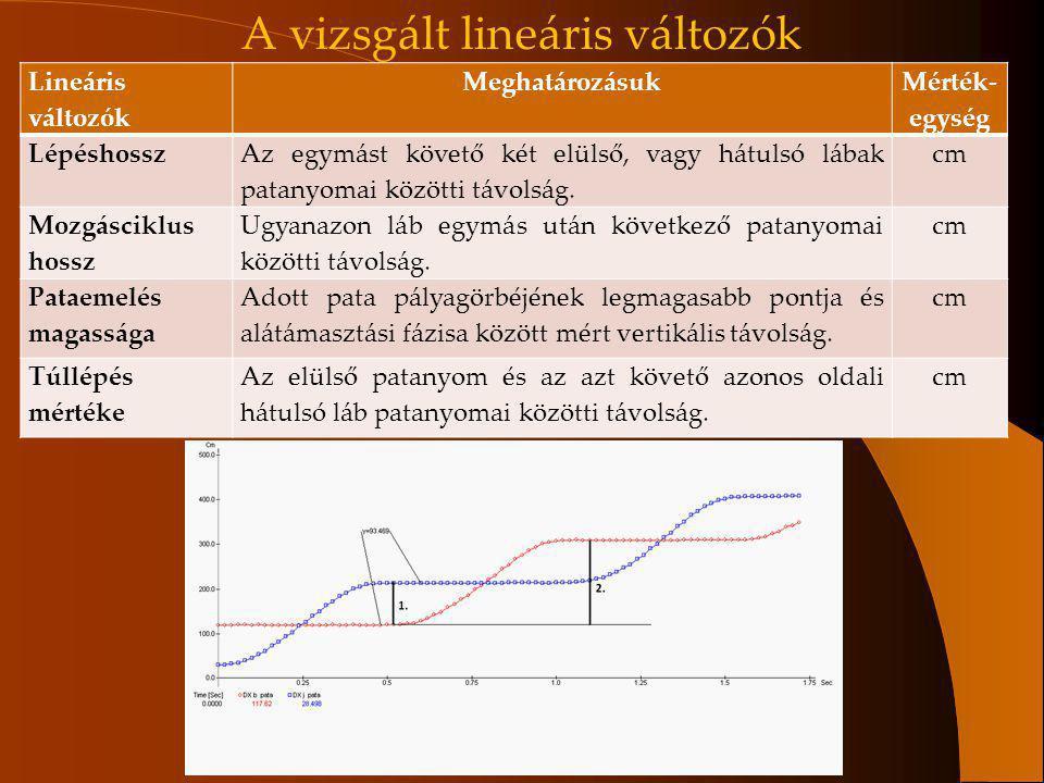 Lineáris változók Meghatározásuk Mérték- egység Lépéshossz Az egymást követő két elülső, vagy hátulsó lábak patanyomai közötti távolság. cm Mozgáscikl