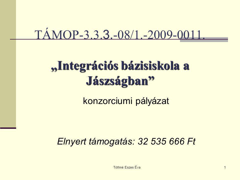 """Tóthné Eszes Éva1 """"Integrációs bázisiskola a Jászságban"""" TÁMOP-3.3. 3. -08/1.-2009-0011. """"Integrációs bázisiskola a Jászságban"""" konzorciumi pályázat E"""