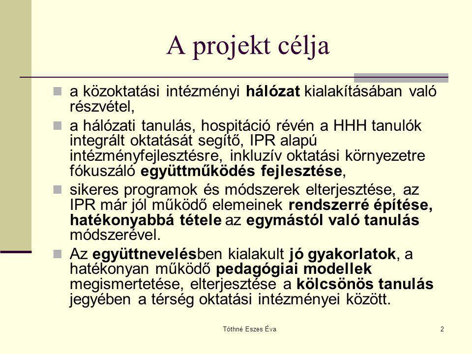 Tóthné Eszes Éva2 A projekt célja a közoktatási intézményi hálózat kialakításában való részvétel, a hálózati tanulás, hospitáció révén a HHH tanulók i
