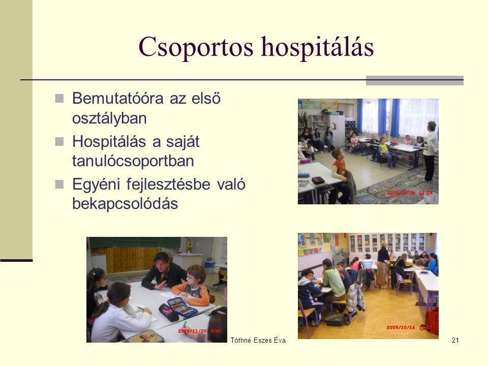 Tóthné Eszes Éva21 Csoportos hospitálás Bemutatóóra az első osztályban Hospitálás a saját tanulócsoportban Egyéni fejlesztésbe való bekapcsolódás