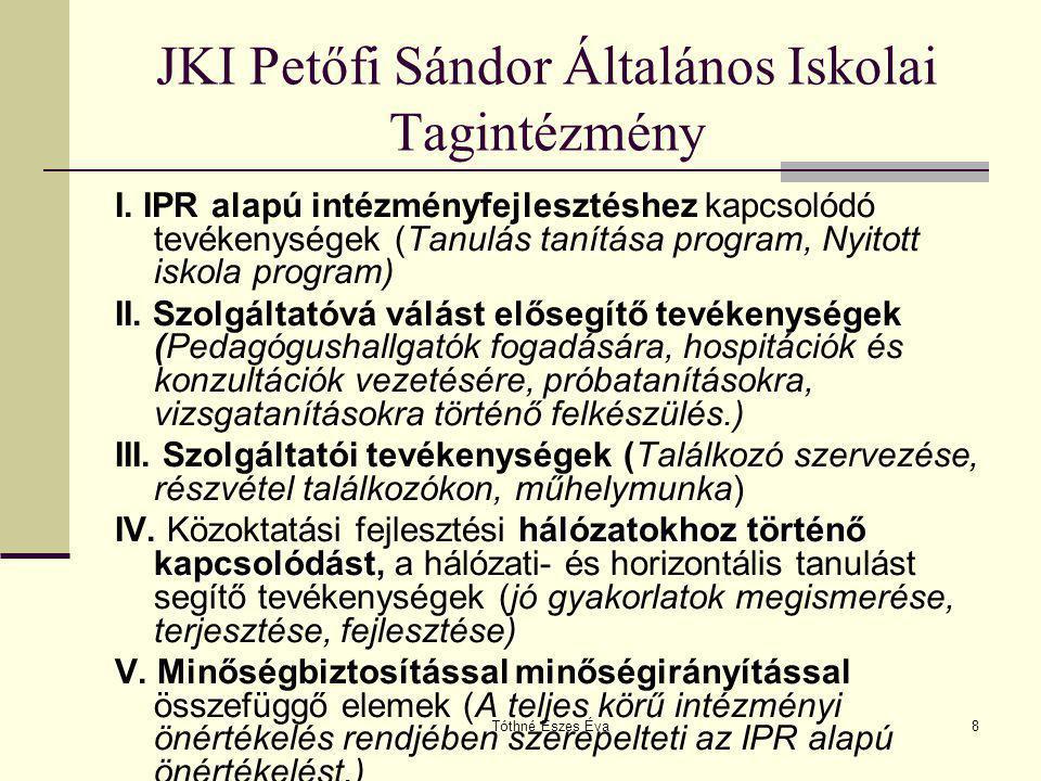 Tóthné Eszes Éva8 JKI Petőfi Sándor Általános Iskolai Tagintézmény I. IPR alapú intézményfejlesztéshez kapcsolódó tevékenységek (Tanulás tanítása prog